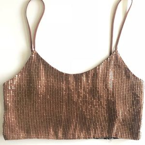 Gold Sequence Crop Top